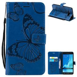 Embossing 3D Butterfly Leather Wallet Case for Samsung Galaxy J7 2016 J710 - Blue