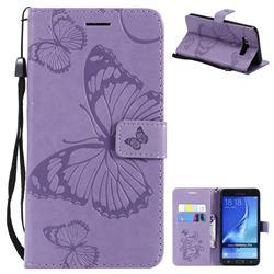 Embossing 3D Butterfly Leather Wallet Case for Samsung Galaxy J7 2016 J710 - Purple