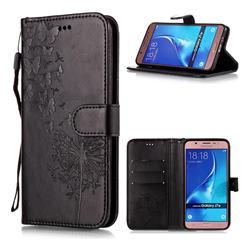 Intricate Embossing Dandelion Butterfly Leather Wallet Case for Samsung Galaxy J7 2016 J710 - Black