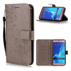 Intricate Embossing Dandelion Butterfly Leather Wallet Case for Samsung Galaxy J7 2016 J710 - Gray