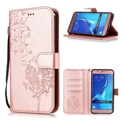 Intricate Embossing Dandelion Butterfly Leather Wallet Case for Samsung Galaxy J7 2016 J710 - Rose Gold