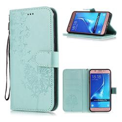 Intricate Embossing Dandelion Butterfly Leather Wallet Case for Samsung Galaxy J7 2016 J710 - Green