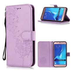 Intricate Embossing Dandelion Butterfly Leather Wallet Case for Samsung Galaxy J7 2016 J710 - Purple