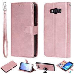 Retro Greek Detachable Magnetic PU Leather Wallet Phone Case for Samsung Galaxy J7 2016 J710 - Rose Gold