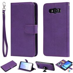 Retro Greek Detachable Magnetic PU Leather Wallet Phone Case for Samsung Galaxy J7 2016 J710 - Purple