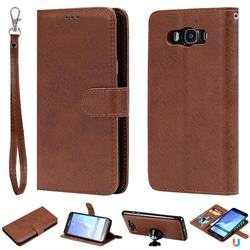 Retro Greek Detachable Magnetic PU Leather Wallet Phone Case for Samsung Galaxy J7 2016 J710 - Brown