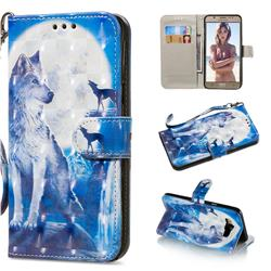 Ice Wolf 3D Painted Leather Wallet Phone Case for Samsung Galaxy J7 2016 J710