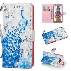 Blue Peacock 3D Painted Leather Wallet Phone Case for Samsung Galaxy J7 2016 J710