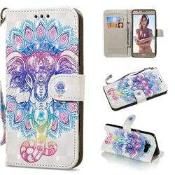 Colorful Elephant 3D Painted Leather Wallet Phone Case for Samsung Galaxy J7 2016 J710