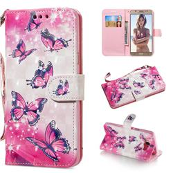 Pink Butterfly 3D Painted Leather Wallet Phone Case for Samsung Galaxy J7 2016 J710
