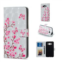 Butterfly Sakura Flower 3D Painted Leather Phone Wallet Case for Samsung Galaxy J7 2016 J710