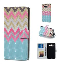 Color Wave 3D Painted Leather Phone Wallet Case for Samsung Galaxy J7 2016 J710
