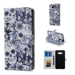 Skull Flower 3D Painted Leather Phone Wallet Case for Samsung Galaxy J7 2016 J710