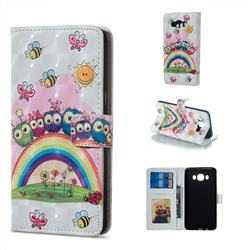 Rainbow Owl Family 3D Painted Leather Phone Wallet Case for Samsung Galaxy J7 2016 J710