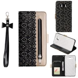 Luxury Lace Zipper Stitching Leather Phone Wallet Case for Samsung Galaxy J7 2016 J710 - Black