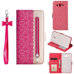 Luxury Lace Zipper Stitching Leather Phone Wallet Case for Samsung Galaxy J7 2016 J710 - Rose