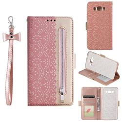 Luxury Lace Zipper Stitching Leather Phone Wallet Case for Samsung Galaxy J7 2016 J710 - Pink