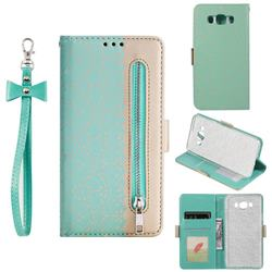 Luxury Lace Zipper Stitching Leather Phone Wallet Case for Samsung Galaxy J7 2016 J710 - Green