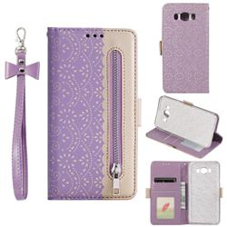 Luxury Lace Zipper Stitching Leather Phone Wallet Case for Samsung Galaxy J7 2016 J710 - Purple