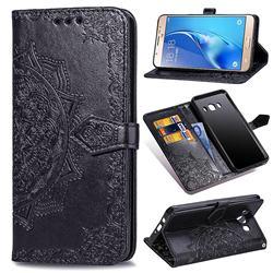 Embossing Imprint Mandala Flower Leather Wallet Case for Samsung Galaxy J7 2016 J710 - Black
