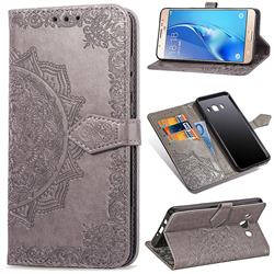Embossing Imprint Mandala Flower Leather Wallet Case for Samsung Galaxy J7 2016 J710 - Gray