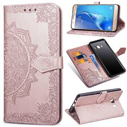 Embossing Imprint Mandala Flower Leather Wallet Case for Samsung Galaxy J7 2016 J710 - Rose Gold