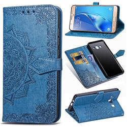Embossing Imprint Mandala Flower Leather Wallet Case for Samsung Galaxy J7 2016 J710 - Blue