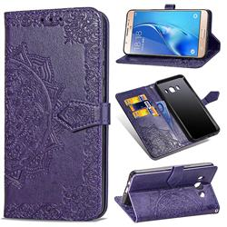 Embossing Imprint Mandala Flower Leather Wallet Case for Samsung Galaxy J7 2016 J710 - Purple