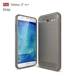 Luxury Carbon Fiber Brushed Wire Drawing Silicone TPU Back Cover for Samsung Galaxy J7 2017 Halo US Edition (Gray)