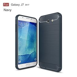 Luxury Carbon Fiber Brushed Wire Drawing Silicone TPU Back Cover for Samsung Galaxy J7 2017 Halo US Edition (Navy)