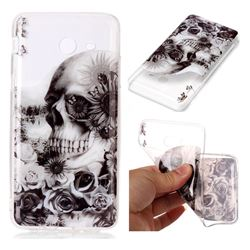 Black Flower Skull Super Clear Soft TPU Back Cover for Samsung Galaxy J7 2017 Halo US Edition