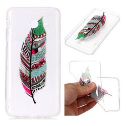 Green Feathers Super Clear Soft TPU Back Cover for Samsung Galaxy J7 2017 Halo US Edition