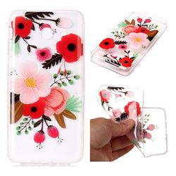 Painting Flowers Super Clear Soft TPU Back Cover for Samsung Galaxy J7 2017 Halo US Edition