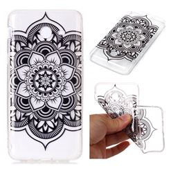 Black Mandala Flower Super Clear Soft TPU Back Cover for Samsung Galaxy J7 2017 Halo US Edition