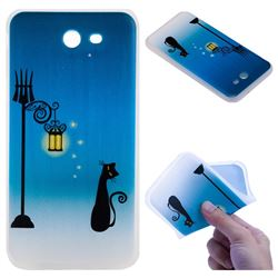 Street Light Cat 3D Relief Matte Soft TPU Back Cover for Samsung Galaxy J7 2017 Halo US Edition