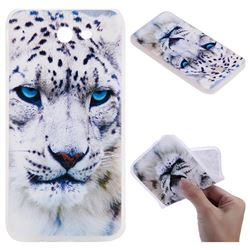 White Leopard 3D Relief Matte Soft TPU Back Cover for Samsung Galaxy J7 2017 Halo US Edition
