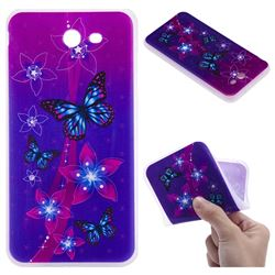 Butterfly Flowers 3D Relief Matte Soft TPU Back Cover for Samsung Galaxy J7 2017 Halo US Edition