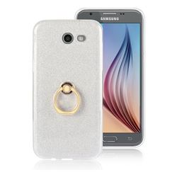 Luxury Soft TPU Glitter Back Ring Cover with 360 Rotate Finger Holder Buckle for Samsung Galaxy J7 2017 Halo US Edition - White