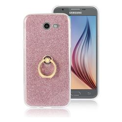 Luxury Soft TPU Glitter Back Ring Cover with 360 Rotate Finger Holder Buckle for Samsung Galaxy J7 2017 Halo US Edition - Pink
