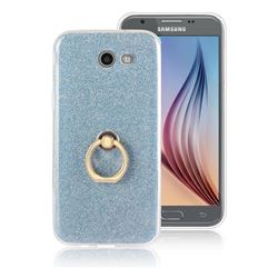 Luxury Soft TPU Glitter Back Ring Cover with 360 Rotate Finger Holder Buckle for Samsung Galaxy J7 2017 Halo US Edition - Blue
