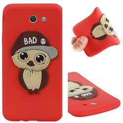 Bad Boy Owl Soft 3D Silicone Case for Samsung Galaxy J7 2017 Halo US Edition - Red