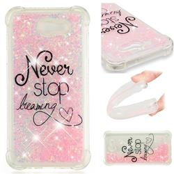 Never Stop Dreaming Dynamic Liquid Glitter Sand Quicksand Star TPU Case for Samsung Galaxy J7 2017 Halo US Edition