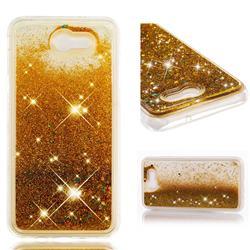 Dynamic Liquid Glitter Quicksand Sequins TPU Phone Case for Samsung Galaxy J7 2017 Halo US Edition - Golden