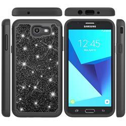 Glitter Rhinestone Bling Shock Absorbing Hybrid Defender Rugged Phone Case Cover for Samsung Galaxy J7 2017 Halo US Edition - Black