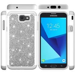 Glitter Rhinestone Bling Shock Absorbing Hybrid Defender Rugged Phone Case Cover for Samsung Galaxy J7 2017 Halo US Edition - Gray