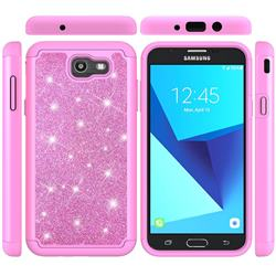 Glitter Rhinestone Bling Shock Absorbing Hybrid Defender Rugged Phone Case Cover for Samsung Galaxy J7 2017 Halo US Edition - Pink