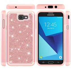 Glitter Rhinestone Bling Shock Absorbing Hybrid Defender Rugged Phone Case Cover for Samsung Galaxy J7 2017 Halo US Edition - Rose Gold