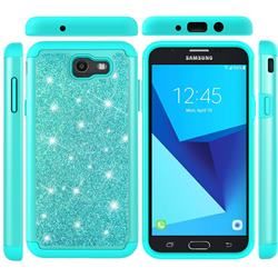 Glitter Rhinestone Bling Shock Absorbing Hybrid Defender Rugged Phone Case Cover for Samsung Galaxy J7 2017 Halo US Edition - Green
