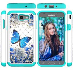 Flower Butterfly Studded Rhinestone Bling Diamond Shock Absorbing Hybrid Defender Rugged Phone Case Cover for Samsung Galaxy J7 2017 Halo US Edition