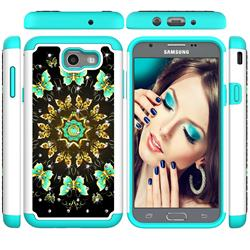 Golden Butterflies Studded Rhinestone Bling Diamond Shock Absorbing Hybrid Defender Rugged Phone Case Cover for Samsung Galaxy J7 2017 Halo US Edition